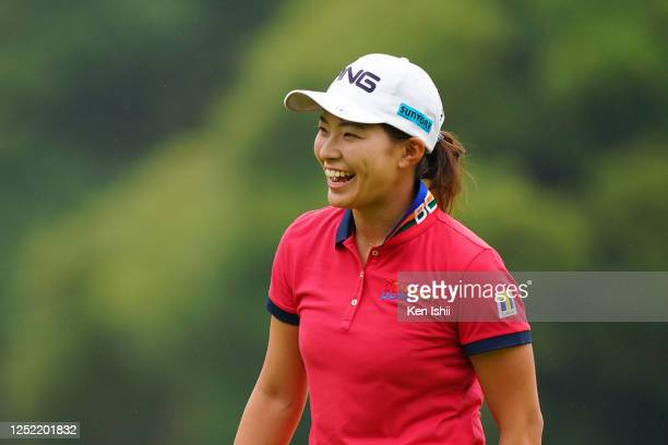 Hinako Shibuno of Japan smiles on the 8th green during the first round of the Earth Mondamin Cup at the Camellia Hills Country Club on June 25 2020...