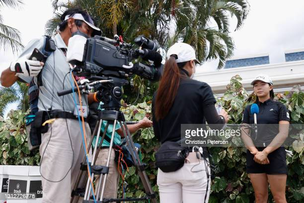 Hinako Shibuno of Japan speaks with the media following the second round of the LPGA LOTTE Championship at Kapolei Golf Club on April 15, 2021 in...
