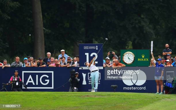Hinako Shibuno of Japan tees off on the 12th hole during Day Four of the AIG Women's British Open at Woburn Golf Club on August 04 2019 in Woburn...