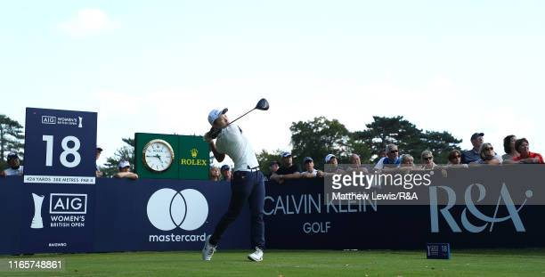 Hinako Shibuno of Japan tees off on the 18th hole during Day Two o the AIG Women's British Open at Woburn Golf Club on August 02 2019 in Woburn...
