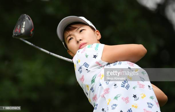 Hinako Shibuno of Japan tees off on the 2nd hole during Day Four of the AIG Women's British Open at Woburn Golf Club on August 04 2019 in Woburn...