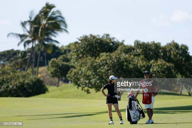 Hinako Shibuno of Japan waits to play a shot on the 11th hole during the second round of the LPGA LOTTE Championship at Kapolei Golf Club on April...