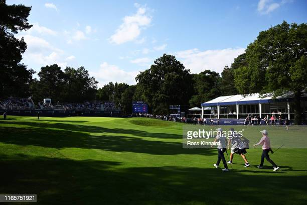 Hinako Shibuno of Japan walks to the 18th green during Day Two of the AIG Women's British Open at Woburn Golf Club on August 02 2019 in Woburn England
