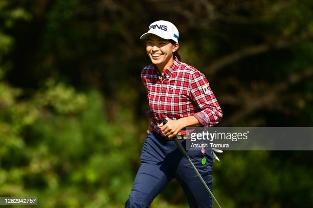 Hinako Shibuno of Japan walks to the 8th green after making a hole-in-one during the first round of the Hisako Higuchi Mitsubishi Electric Ladies...