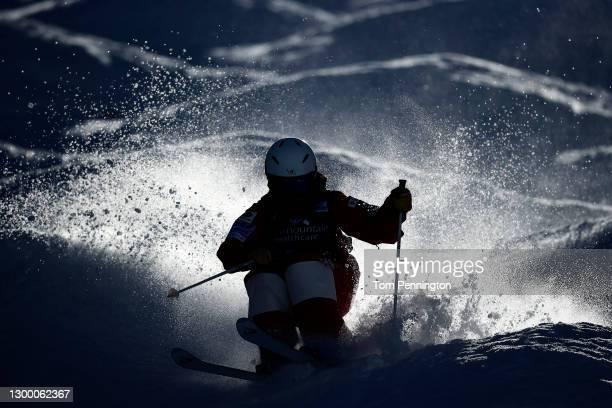 Hinako Tomitaka of Japan takes training run for the Women's Moguls during the 2021 Intermountain Healthcare Freestyle International Ski World Cup at...