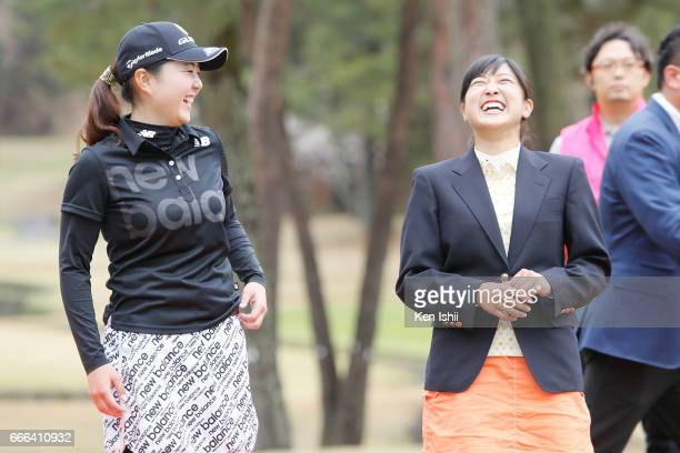Hinako Yamauchi and Yuna Takagi talk after the final round of the Hanasaka Ladies Yanmar Golf Tournament at the Biwako Country Club on April 9 2017...