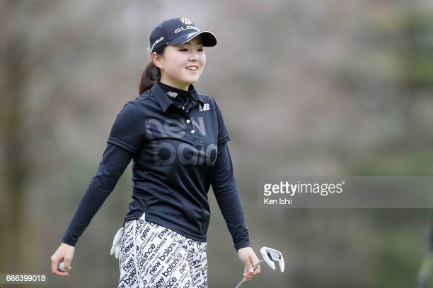 Hinako Yamauchi celebrates her win on the 18th hole during the final round of the Hanasaka Ladies Yanmar Golf Tournament at the Biwako Country Club...