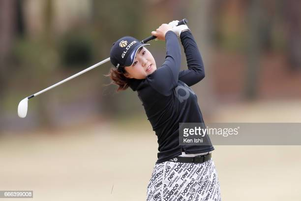 Hinako Yamauchi hits out of a bunker on the 18th hole during the final round of the Hanasaka Ladies Yanmar Golf Tournament at the Biwako Country Club...