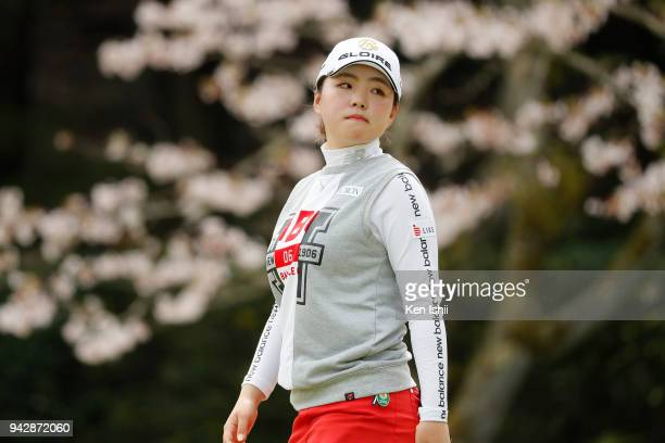 Hinako Yamauchi of Japan reacts on the 8th green during the final round of the Hanasaka Ladies Yanmar Golf Tournament at Biwako Country Club on April...