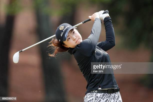 Hinako Yamauchi plays her tee shot on the second hole during the final round of the Hanasaka Ladies Yanmar Golf Tournament at the Biwako Country Club...