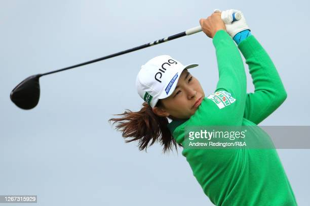Hinako Shibuno of Japan plays her shot off the 3rd tee during Day One of the 2020 AIG Women's Open at Royal Troon on August 20 2020 in Troon Scotland