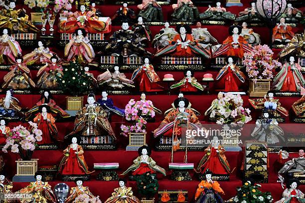 HinaMatsuri dolls are on display in an exhibition at the Japan House in Rio de Janeiro on the eve of the Rio 2016 Olympic Games opening on August 4...