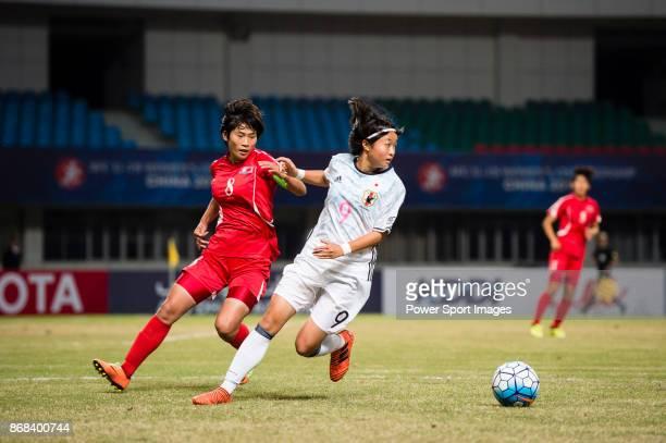 "Hinata Miyazawa in action against Ryang Ryong Mi of DPR Korea during their AFC U-19 Women""u2019s Championship 2017 Final match between North Korea..."