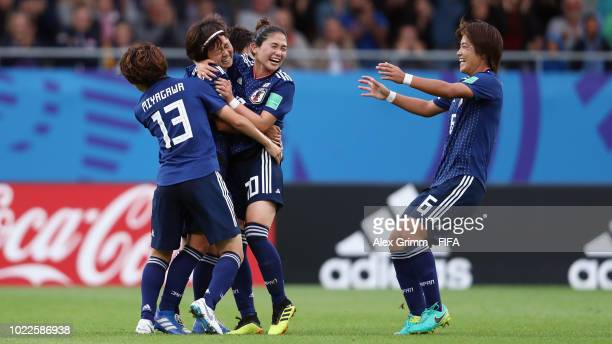 Hinata Miyazawa of Japan celebrates her team's first goal during the FIFA U-20 Women's World Cup France 2018 Final match between Spain and Japan at...