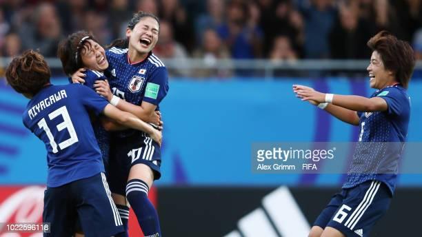 Hinata Miyazawa of Japan celebrates her team's first goal with team mates Asato Miyagawa Fuka Nagano and Hana Takahashi during the FIFA U20 Women's...