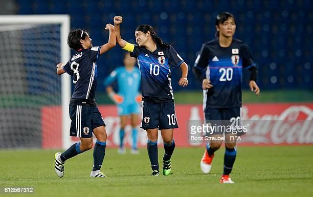 Hinata Miyazawa of Japan celebrates with team mate Fuka Nagano after scoring her team's third goal during the FIFA U-17 Women's World Cup Group D...