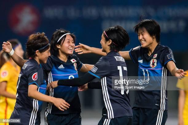 "Hinata Miyazawa of Japan celebrating her score with teammates during their AFC U-19 Women""u2019s Championship 2017 Semi-Finals match between Japan..."