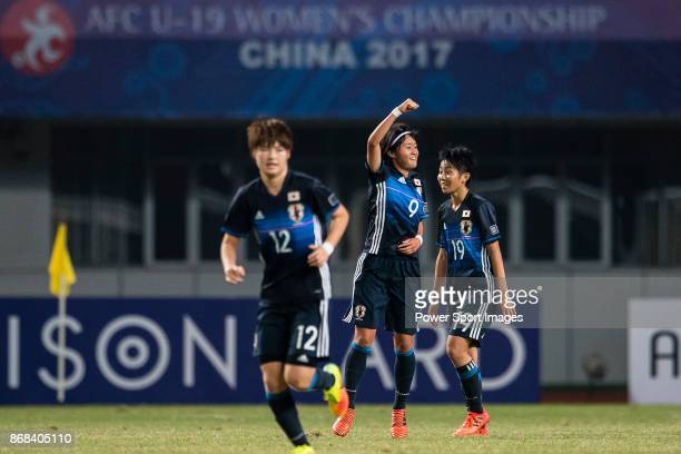 "Hinata Miyazawa of Japan celebrating his score during their AFC U-19 Women""u2019s Championship 2017 Group Stage B match between Australia and Japan..."