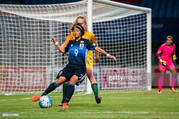 "Hinata Miyazawa of Japan in action against Kaitlyn Torpey of Australia during their AFC U-19 Women""u2019s Championship 2017 Group Stage B match..."