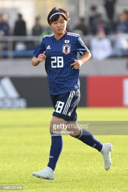 Hinata Miyazawa of Japan looks on during the international friendly match between Japan and Norway at Torigin Bird Stadium on November 11, 2018 in...