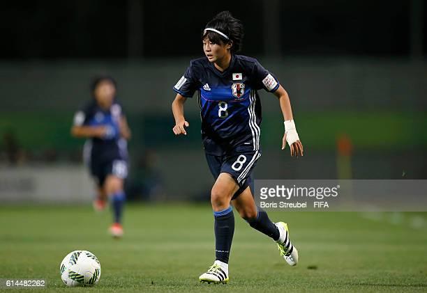Hinata Miyazawa of Japan runs with the ball during the FIFA U-17 Women's World Cup Quarter Final match between Japan and England at Al Hassan...