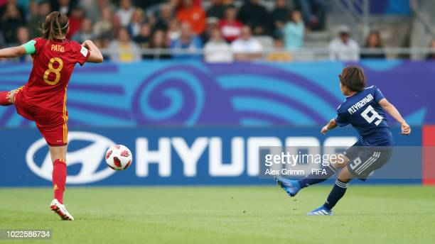 Hinata Miyazawa of Japan scores her team's first goal during the FIFA U-20 Women's World Cup France 2018 Final match between Spain and Japan at Stade...