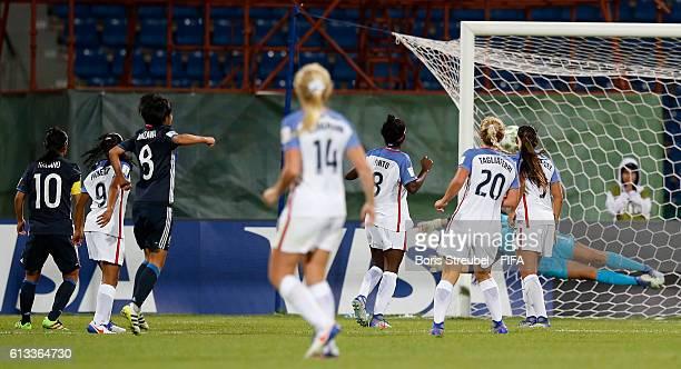 Hinata Miyazawa of Japan scores her team's third goal during the FIFA U-17 Women's World Cup Group D match between Japan and USA at Amman...