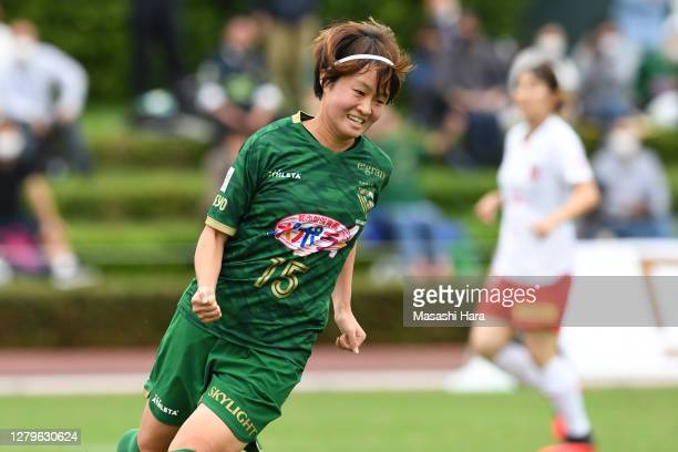 Hinata Miyazawa of NTV Beleza celebrates the third goal during the Nadeshiko League match between Nippon TV Tokyo Verdy Veleza and Urawa Red Diamonds...