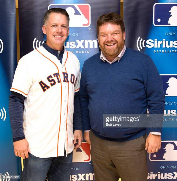 J Hinch and SiriusXM radio host Mike Ferrin attend SiriusXM Town Hall With Houston Astros World Series Manager AJ Hinch on January 13 2018 in Houston...