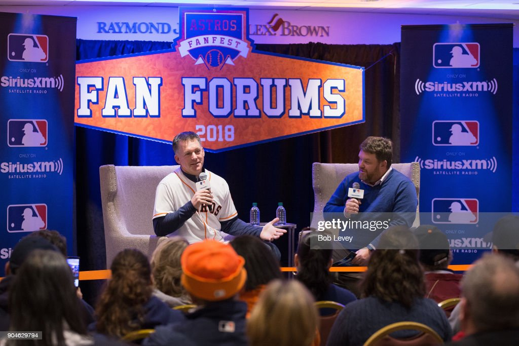 A.J. Hinch and SiriusXM radio host Mike Ferrin attend SiriusXM Town Hall With Houston Astros World Series Manager A.J. Hinch on January 13, 2018 in Houston, Texas.