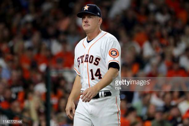 Hinch of the Houston Astros looks on against the Washington Nationals during the fourth inning in Game One of the 2019 World Series at Minute Maid...