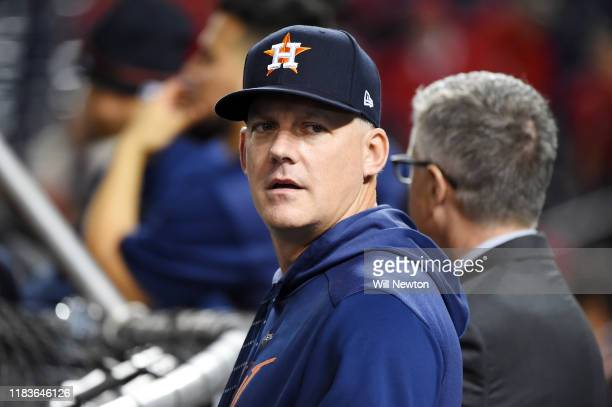 Hinch of the Houston Astros looks on during batting practice prior to Game Four of the 2019 World Series against the Washington Nationals at...