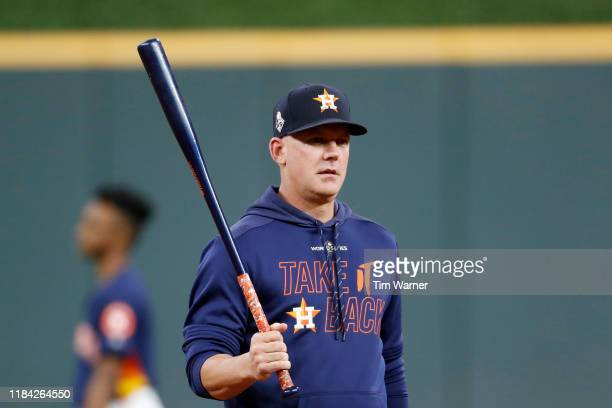 Hinch of the Houston Astros looks on during batting practice prior to Game Six of the 2019 World Series against the Washington Nationals at Minute...