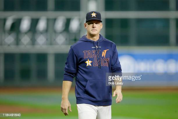 Hinch of the Houston Astros looks on during batting practice prior to Game Seven of the 2019 World Series against the Washington Nationals at Minute...