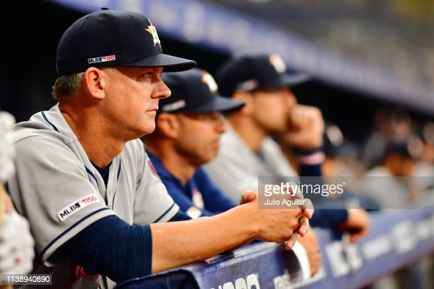 Hinch of the Houston Astros looks on during the ninth inning against the Tampa Bay Rays during Opening Day at Tropicana Field on March 28 2019 in St...