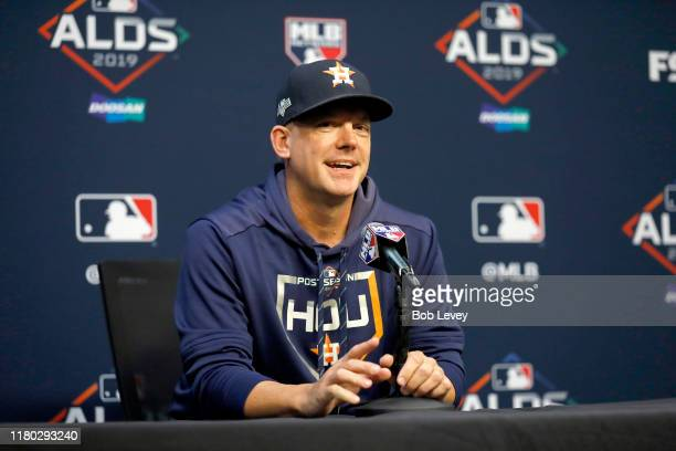 Hinch of the Houston Astros speaks to the media prior to game five of the American League Division Series against the Tampa Bay Rays at Minute Maid...