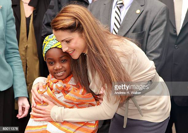 Hind and Rania Al Abdullah Queen of Jordan attend the launch of the In My Name global campaign at Dag Hammarskjold Plaza on September 25 2008 in New...