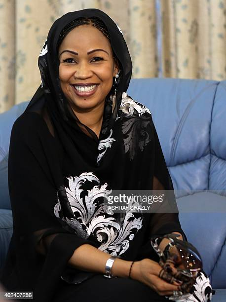 Hinda Deby one of the wives of the President of Chad Idriss Deby Itno is seen upon their arrival for an official visit in Khartoum on January 28 2015...