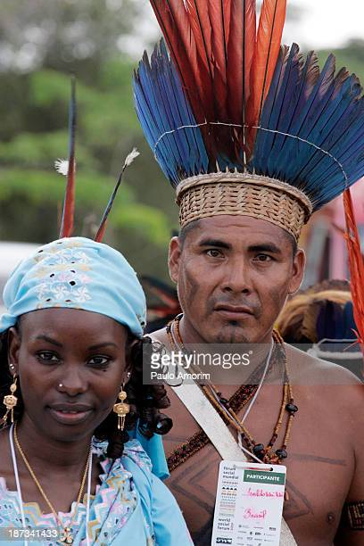 Hinddou Oumaro of Chad and Indigen Ivaldo Waiwai of Brazil during leaders, social and evironmental justice groups unite at World Social Forum to...