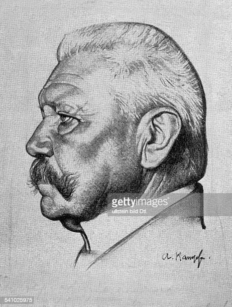 Hindenburg Paul von *02101847Offizier Politiker DGeneralfeldmarschallReichspraesident Portrait im Profil undatiert