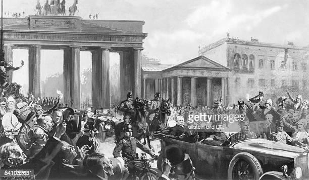 Hindenburg Paul von *02101847Offizier Politiker DGeneralfeldmarschallReichspraesident zieht als Reichspraesident durch das Brandenburger Tor in...