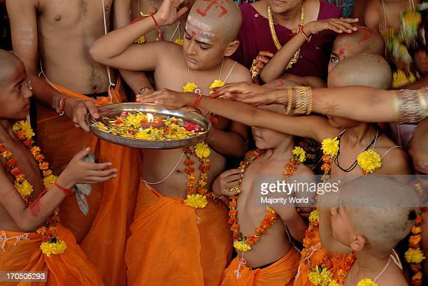 Hindu Brahmin boys participate in the mass Janyu ceremony in Mumbai India Janyu ceremony is very important for Brahmins in India During this ceremony...