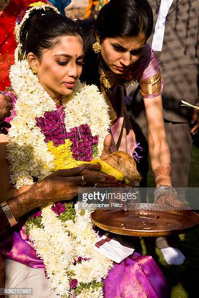 Hindu bride Shweta Singhal sits on her father's lap as she hold in her hands a coconut and banana as a priest recites verses meant to purify the...