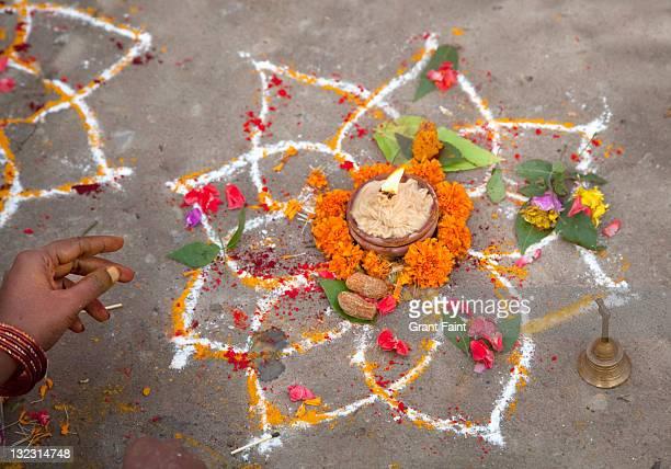 Hindu cleansing ceremony display.