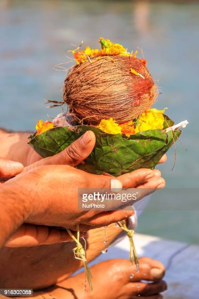 Hindu community people worship before immersion of ashes at Asthi Pravah Ghat in Haridwar Uttrakhand India on 8th Feb 2018According to hindu culture...