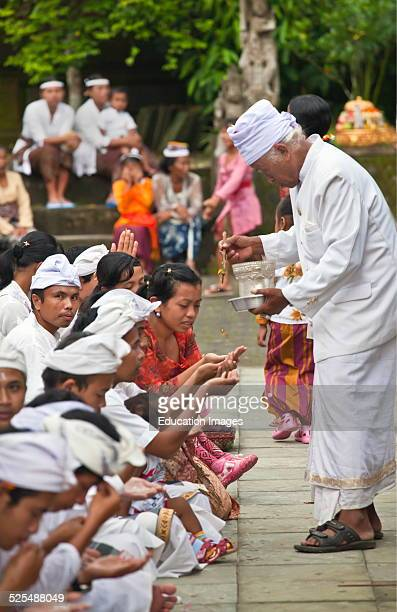 A Hindu Crowd Worships At The Pura Tirta Empul Temple Complex During The Galungan Festival Tampaksiring Bali Indonesia