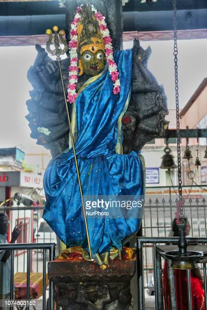 Hindu deity at the Tirupparankunram Murugan Temple in Tirupparankunram Tamil Nadu India This temple is one of the Six Abodes of Murugan and is built...