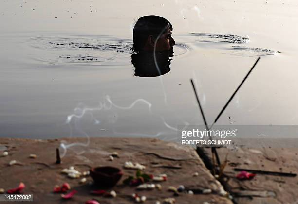 A Hindu devotee takes a dip in the Yamuna river in New Delhi on May 31 after presenting offerings to the Sun and River to mark the begining of his...
