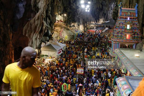 Hindu devotees are seen inside the Batu Caves Temple during the festival of Thaipusam in Kuala Lumpur Malaysia on January 21 2019