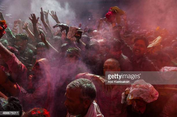 Hindu devotees celebrate the Holi festival in the Banke Bihari temple Known as the festival of colours Holi is an ancient Hindu festival celebrated...
